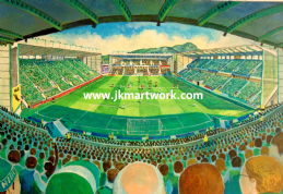 Hand Painted original of easter road on matchday